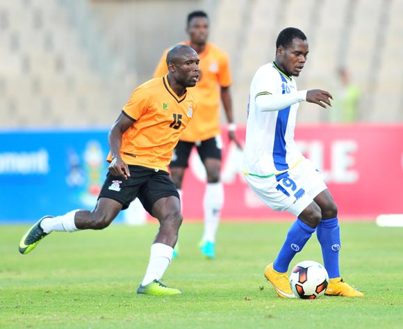 Mzamiru Said of Tanzania challenged by Donashano Malama of Zambia during 2017 Cosafa Castle Cup match between Zambia and Tanzania at Moruleng Stadium in Rustenburg on 05 July 2017 ©Samuel Shivambu/BackpagePix
