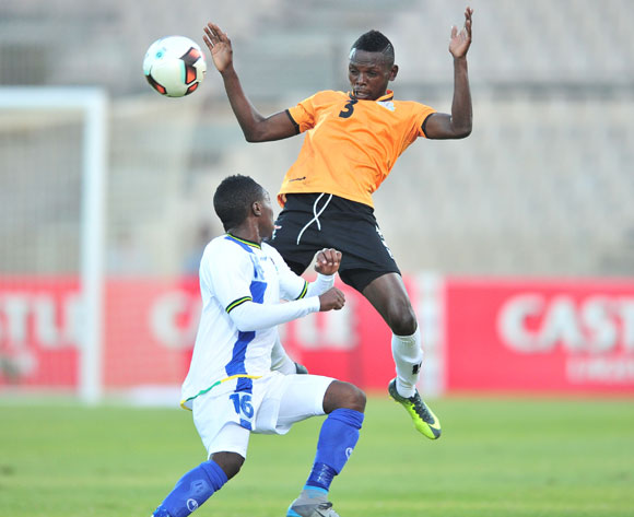 Lawrence Chungu of Zambia challenged by Yahya Ramadhani of Tanzania during 2017 Cosafa Castle Cup match between Zambia and Tanzania at Moruleng Stadium in Rustenburg on 05 July 2017 ©Samuel Shivambu/BackpagePix