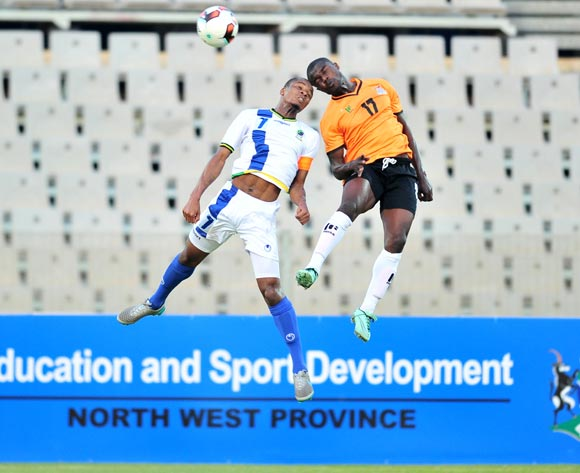 Mike Katiba of Zambia challenged by Himid Mkami of Tanzania during 2017 Cosafa Castle Cup match between Zambia and Tanzania at Moruleng Stadium in Rustenburg on 05 July 2017 ©Samuel Shivambu/BackpagePix