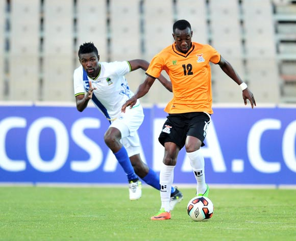 Brian Mwila of Zambia challenged by Banda Abdi of Tanzania during 2017 Cosafa Castle Cup match between Zambia and Tanzania at Moruleng Stadium in Rustenburg on 05 July 2017 ©Samuel Shivambu/BackpagePix