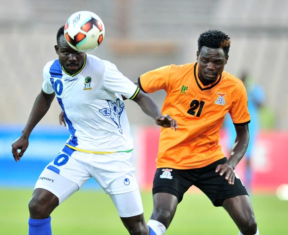 Elias Maguri of Tanzania challenged by Issac Shamujompa of Zambia during 2017 Cosafa Castle Cup match between Zambia and Tanzania at Moruleng Stadium in Rustenburg on 05 July 2017 ©Samuel Shivambu/BackpagePix
