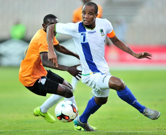 Himid Mkami of Tanzania challenged by Diamond Chikwekwe of Zambia during 2017 Cosafa Castle Cup match between Zambia and Tanzania at Moruleng Stadium in Rustenburg on 05 July 2017 ©Samuel Shivambu/BackpagePix