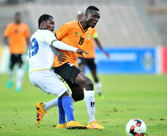 Jackson Chirwa of Zambia challenged by Mzamiru Said of Tanzania during 2017 Cosafa Castle Cup match between Zambia and Tanzania at Moruleng Stadium in Rustenburg on 05 July 2017 ©Samuel Shivambu/BackpagePix