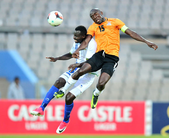 Elias Maguri of Tanzania challenged by Donashano Malama of Zambia during 2017 Cosafa Castle Cup match between Zambia and Tanzania at Moruleng Stadium in Rustenburg on 05 July 2017 ©Samuel Shivambu/BackpagePix