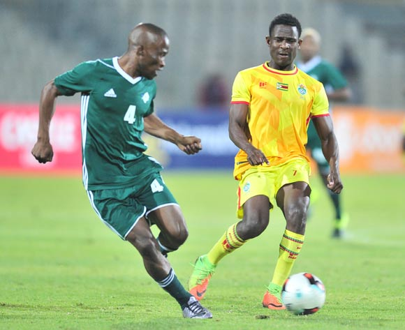 Talent Chawapiwa of Zimbabwe challenged by Bokang Sello of Lesotho during 2017 Cosafa Castle Cup match between Lesotho and Zimbabwe at Moruleng Stadium in Rustenburg on 05 July 2017 ©Samuel Shivambu/BackpagePix