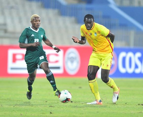 Eric Chipeta of Zimbabwe challenged by Jane Ntso of Lesotho during 2017 Cosafa Castle Cup match between Lesotho and Zimbabwe at Moruleng Stadium in Rustenburg on 05 July 2017 ©Samuel Shivambu/BackpagePix