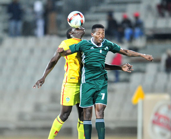 Hlompho Kalate of Lesotho challenged by Honest Moyo of Zimbabwe during 2017 Cosafa Castle Cup match between Lesotho and Zimbabwe at Moruleng Stadium in Rustenburg on 05 July 2017 ©Samuel Shivambu/BackpagePix