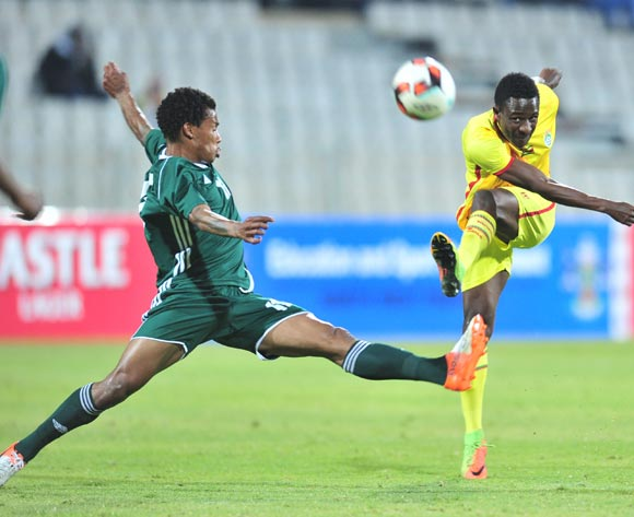 Talent Chawapiwa of Zimbabwe challenged by Tsoanelo Koetle of Lesotho during 2017 Cosafa Castle Cup match between Lesotho and Zimbabwe at Moruleng Stadium in Rustenburg on 05 July 2017 ©Samuel Shivambu/BackpagePix