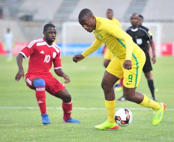 Judas Moseamedi of South Africa challenged by Wangu Gome of Namibia during 2017 Cosafa Castle Cup match between South Africa and Namibia at Moruleng Stadium in Rustenburg on 07 July 2017 ©Samuel Shivambu/BackpagePix