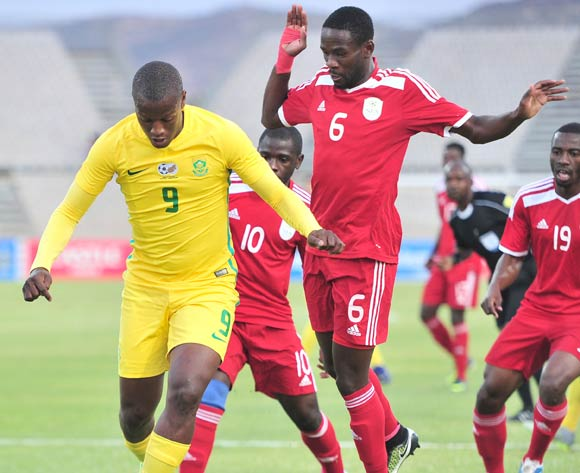 Judas Moseamedi of South Africa challenged by Wangu Gome and Horaed Larry of Namibia during 2017 Cosafa Castle Cup match between South Africa and Namibia at Moruleng Stadium in Rustenburg on 07 July 2017 ©Samuel Shivambu/BackpagePix
