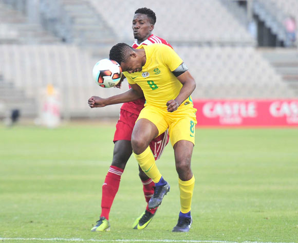 Lehlogonolo Masalesa of South Africa challenged by Itamunua Keimuine of Namibia during 2017 Cosafa Castle Cup match between South Africa and Namibia at Moruleng Stadium in Rustenburg on 07 July 2017 ©Samuel Shivambu/BackpagePix