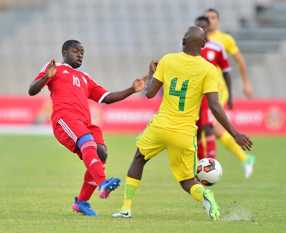 Tercious Malepe of South Africa challenged by Wangu Gome of Namibia during 2017 Cosafa Castle Cup match between South Africa and Namibia at Moruleng Stadium in Rustenburg on 07 July 2017 ©Samuel Shivambu/BackpagePix