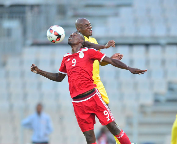 Roger Katjiteo of Namibia challenged by Tercious Malepe of South Africa during 2017 Cosafa Castle Cup match between South Africa and Namibia at Moruleng Stadium in Rustenburg on 07 July 2017 ©Samuel Shivambu/BackpagePix