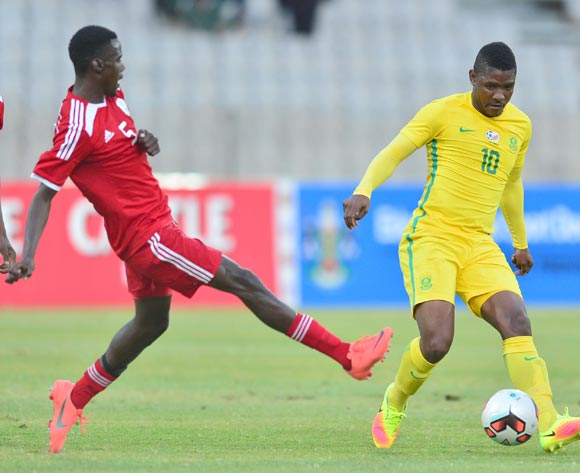 Maohau Mokate of South Africa challenged by Ferdinand Karongee of Namibia challenged during 2017 Cosafa Castle Cup match between South Africa and Namibia at Moruleng Stadium in Rustenburg on 07 July 2017 ©Samuel Shivambu/BackpagePix