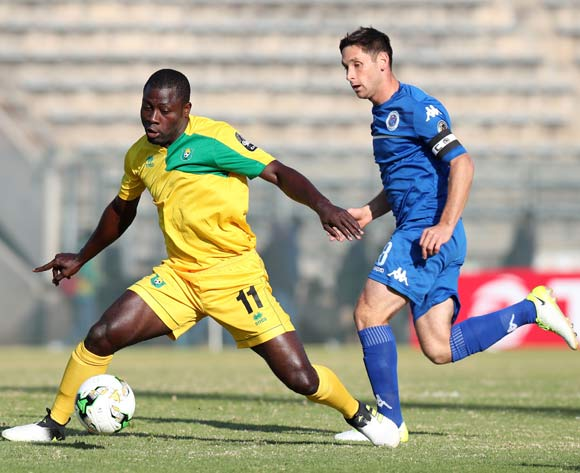 Ellesah Mensah JR of CF Mounana challenged by Reneilwe Letsholonyane of Supersport United during the 2017 CAF Confederations Cup match between Supersport United and CF Mounana at the Lucas Moripe Stadium, Atteridgeville South Africa on 08 July 2017 ©Muzi Ntombela/BackpagePix