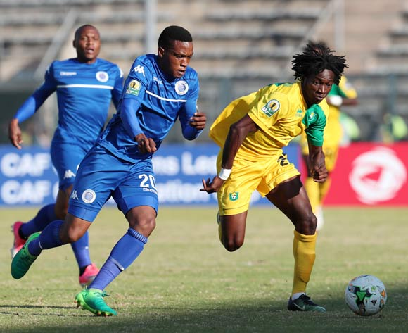 Louis Amake Autchanga of CF Mounana challenged by Grant Kekana of Supersport United during the 2017 CAF Confederations Cup match between Supersport United and CF Mounana at the Lucas Moripe Stadium, Atteridgeville South Africa on 08 July 2017 ©Muzi Ntombela/BackpagePix