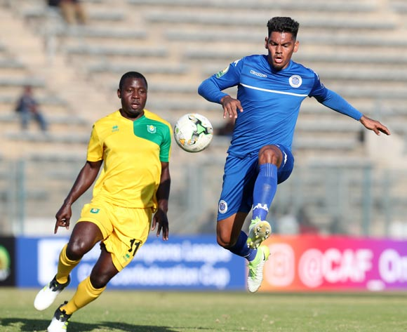 Clayton Daniels of Supersport United clears ball from Ellesah Mensah JR of CF Mounana during the 2017 CAF Confederations Cup match between Supersport United and CF Mounana at the Lucas Moripe Stadium, Atteridgeville South Africa on 08 July 2017 ©Muzi Ntombela/BackpagePix
