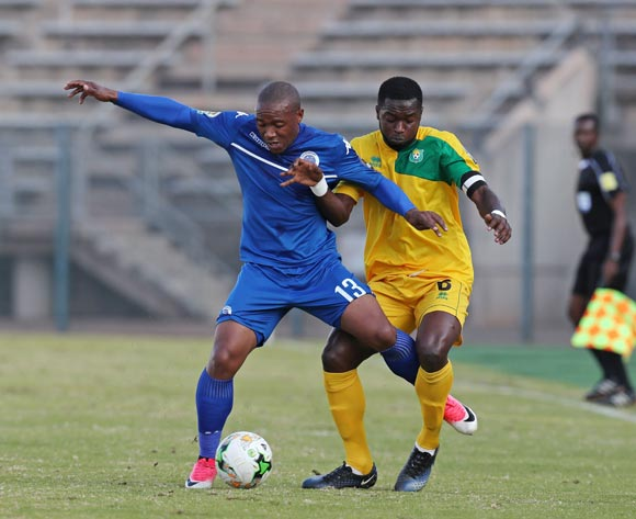 Thuso Phala of Supersport United challenged by Dieu Donne Kemba of CF Mounana during the 2017 CAF Confederations Cup match between Supersport United and CF Mounana at the Lucas Moripe Stadium, Atteridgeville South Africa on 08 July 2017 ©Muzi Ntombela/BackpagePix