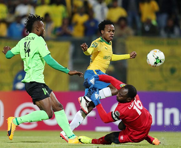 Percy Tau of Mamelodi Sundowns challenged by Landu Makiese (16) and Ngonda Muzinga of AS Vita during the 2017 CAF Champions League match between Mamelodi Sundowns and AS Vita at the Lucas Moripe Stadium, Atteridgeville South Africa on 09 July 2017 ©Muzi Ntombela/BackpagePix