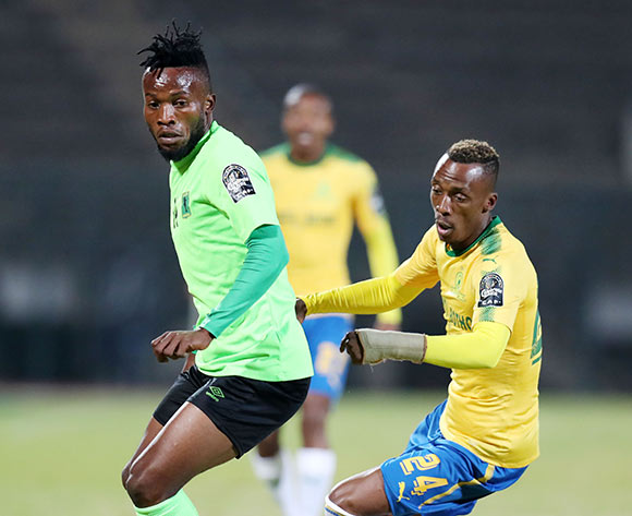 Ngonda Muzinga of AS Vita challenged by Yannick Zakri of Mamelodi Sundowns during the 2017 CAF Champions League match between Mamelodi Sundowns and AS Vita at the Lucas Moripe Stadium, Atteridgeville South Africa on 09 July 2017 ©Muzi Ntombela/BackpagePix