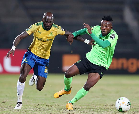 Anthony Laffor of Mamelodi Sundowns challenged by Ngonda Muzinga of AS Vita during the 2017 CAF Champions League match between Mamelodi Sundowns and AS Vita at the Lucas Moripe Stadium, Atteridgeville South Africa on 09 July 2017 ©Muzi Ntombela/BackpagePix