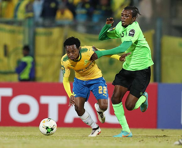 Percy Tau of Mamelodi Sundowns challenged by Bopunga Botuli of AS Vita during the 2017 CAF Champions League match between Mamelodi Sundowns and AS Vita at the Lucas Moripe Stadium, Atteridgeville South Africa on 09 July 2017 ©Muzi Ntombela/BackpagePix