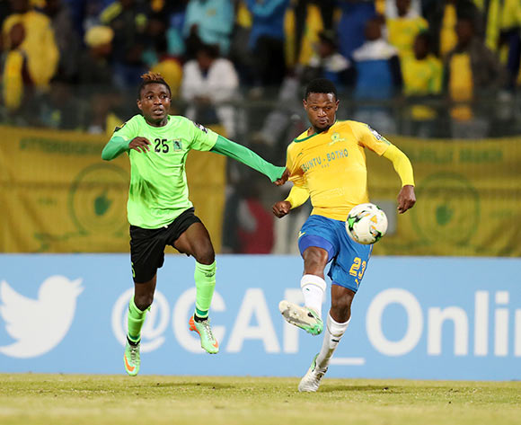 Motjeka Madisha of Mamelodi Sundowns challenged by Etekiama Agiti of AS Vita during the 2017 CAF Champions League match between Mamelodi Sundowns and AS Vita at the Lucas Moripe Stadium, Atteridgeville South Africa on 09 July 2017 ©Muzi Ntombela/BackpagePix