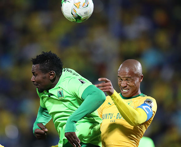 Thabo Nthethe of Mamelodi Sundowns clears ball from Munganga Omba of AS Vita during the 2017 CAF Champions League match between Mamelodi Sundowns and AS Vita at the Lucas Moripe Stadium, Atteridgeville South Africa on 09 July 2017 ©Muzi Ntombela/BackpagePix
