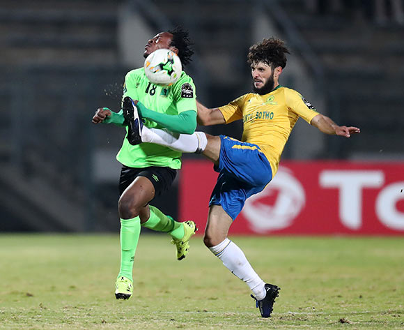 Mukoko Batezadio of AS Vita challenged by Fares Hachi of Mamelodi Sundowns during the 2017 CAF Champions League match between Mamelodi Sundowns and AS Vita at the Lucas Moripe Stadium, Atteridgeville South Africa on 09 July 2017 ©Muzi Ntombela/BackpagePix