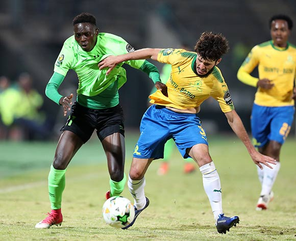 Chadrack Muzungu of AS Vita challenged by Fares Hachi of Mamelodi Sundowns during the 2017 CAF Champions League match between Mamelodi Sundowns and AS Vita at the Lucas Moripe Stadium, Atteridgeville South Africa on 09 July 2017 ©Muzi Ntombela/BackpagePix