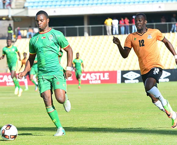 Bruce Homora of Zimbabwe challenged by Justin Shonga of Zambia during 2017 Cosafa Castle Cup match between Zambia and Zimbabwe at Royal Bafokeng Stadium in Rustenburg on 09 July 2017 ©Samuel Shivambu/BackpagePix
