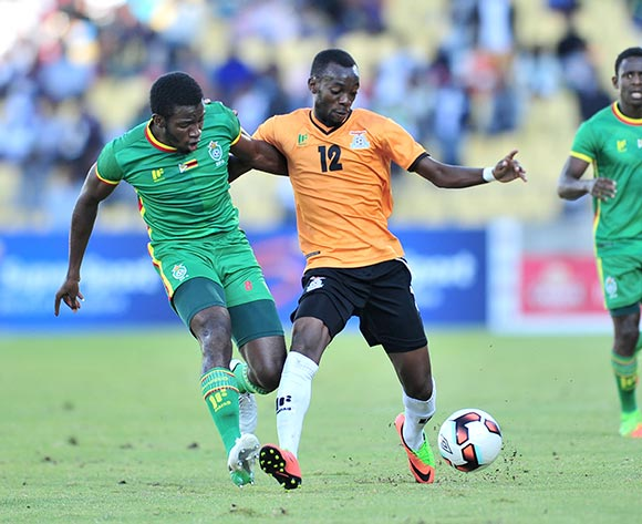 Justin SHonga of Zambia challenged by John Takwara of Zimbabwe during 2017 Cosafa Castle Cup match between Zambia and Zimbabwe at Royal Bafokeng Stadium in Rustenburg on 09 July 2017 ©Samuel Shivambu/BackpagePix