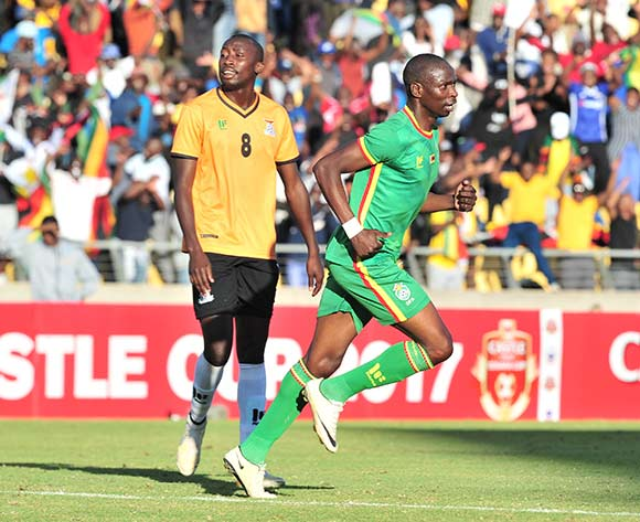 Ocean Mushure of Zimbabwe celebrates a goal during 2017 Cosafa Castle Cup match between Zambia and Zimbabwe at Royal Bafokeng Stadium in Rustenburg on 09 July 2017 ©Samuel Shivambu/BackpagePix