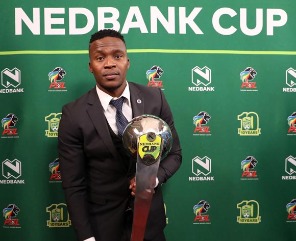 Morgan Gould of Supersport United receives the Nedbank Cup trophy during the 2016/17 PSL Awards at the Sandton Convention Centre, Johannesburg South Africa on 10 July 2017 ©Muzi Ntombela/BackpagePix