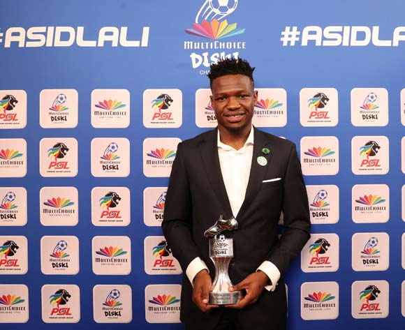 Multichoice Diski Challenge Top Goal Scorer, Tshegofatso Mabaso of Bloemfontein Celtic during the 2016/17 PSL Awards at the Sandton Convention Centre, Johannesburg South Africa on 10 July 2017 ©Muzi Ntombela/BackpagePix