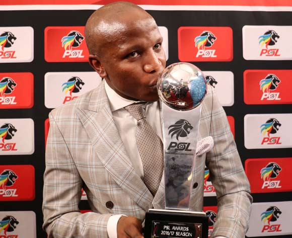 Footballer of the Season, Lebogang Manyama of Cape Town City FC during the 2016/17 PSL Awards at the Sandton Convention Centre, Johannesburg South Africa on 10 July 2017 ©Muzi Ntombela/BackpagePix