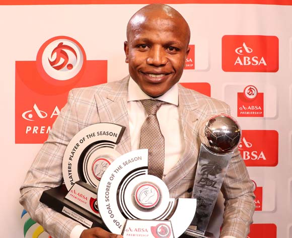 Lebogang Manyama of Cape Town City FC wins the Absa Premiership Top Goal Scorerer, Footballer of the Season and Absa Premiership Player's Player of the Season during the 2016/17 PSL Awards at the Sandton Convention Centre, Johannesburg South Africa on 10 July 2017 ©Muzi Ntombela/BackpagePix