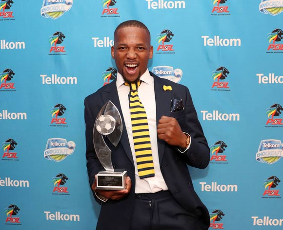 Telkom Knockout Player of the Tournament, Aubrey Ngoma of Cape Town City FC during the 2016/17 PSL Awards at the Sandton Convention Centre, Johannesburg South Africa on 10 July 2017 ©Muzi Ntombela/BackpagePix