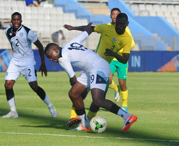 Tumisang Orebonye of Botswana challenged by Siyabonga Nhlapho of South Africa during 2018 Chan Qualifiers game between South Africa and Botswana at Moruleng Stadium on 22 July 2017 ©Aubrey Kgakatsi/BackpagePix