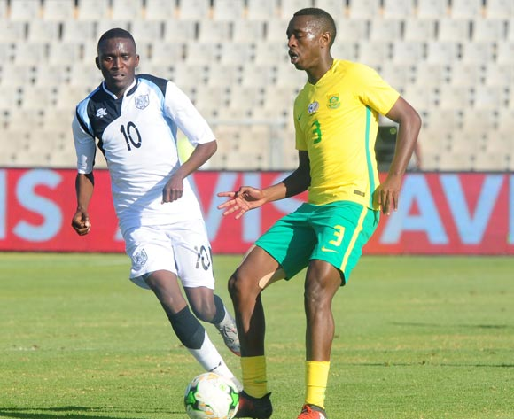 Lemogang Maswena of Botswana challenged by Siyabonga Nhlapho of South Africa during 2018 Chan Qualifiers game between South Africa and Botswana at Moruleng Stadium on 22 July 2017 ©Aubrey Kgakatsi/BackpagePix
