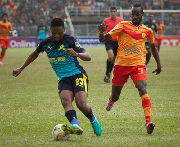 Salahdin Said (R) of Saint George and Motjeka Madisha (L) of Mamelodi Sundowns vie for the ball during the 2017 CAF Champions League game between Saint George and  Mamelodi Sundowns at Addis Ababa Stadium in Addis Ababa, Ethiopia on 1 July 2017 © BackpagePix