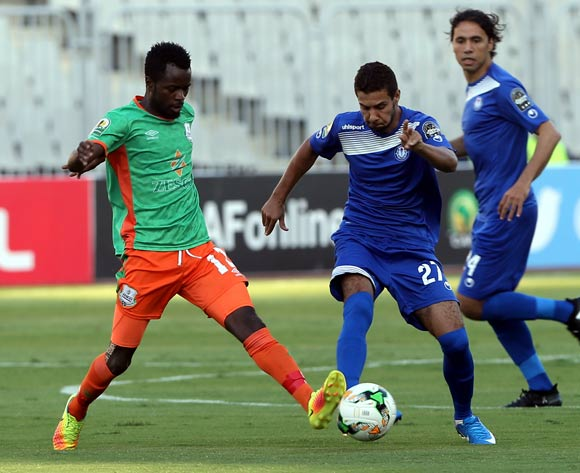 Smouha player Islam Serry (R) in action against Zesco United player Bornwell Silengo (L) during the 2017 CAF Confederations Cup game between Smouha and Zesco United at Borg El Arab Stadium in Alexandria, Egypt on 30 June 2017 © BackpagePix