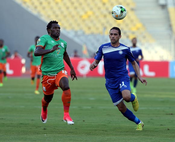Smouha player Ahmed Raouf (R) in action against Zesco United player David Owino (L)  during the 2017 CAF Confederations Cup game between Smouha and Zesco United at Borg El Arab Stadium in Alexandria, Egypt on 30 June 2017 © BackpagePix