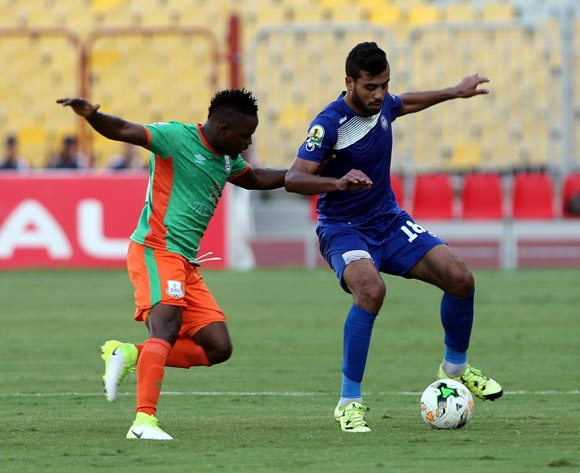 Smouha player  Ahmed Andelghani (R) in action against Zesco United player David Owino (L) during the 2017 CAF Confederations Cup game between Smouha and Zesco United at Borg El Arab Stadium in Alexandria, Egypt on 30 June 2017 © BackpagePix