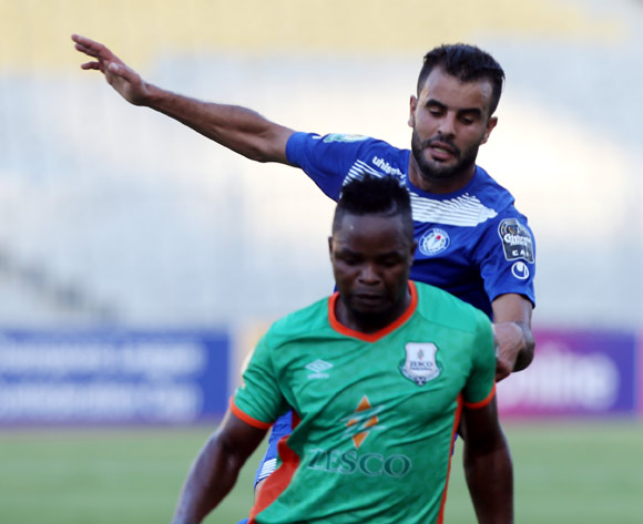 Smouha player Ahmed Homos  (L) in action against Zesco United player Simon Silwimba (L) during the 2017 CAF Confederations Cup game between Smouha and Zesco United at Borg El Arab Stadium in Alexandria, Egypt on 30 June 2017 © BackpagePix