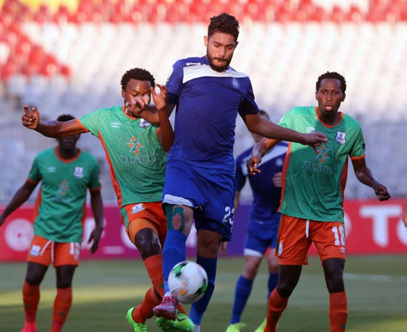 Smouha player Yasser Ibrahim (C) in action against Zesco United player David Owino (L) and Kondwani Mtonga (R) during the 2017 CAF Confederations Cup game between Smouha and Zesco United at Borg El Arab Stadium in Alexandria, Egypt on 30 June 2017 © BackpagePix