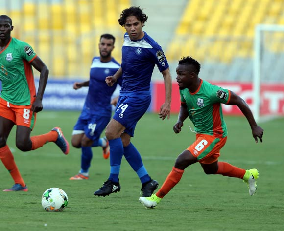 Smouha player Amr El Monoufy  (C) in action against Zesco United player Simon Silwimba (R) and Agey Anthony (L) during the 2017 CAF Confederations Cup game between Smouha and Zesco United at Borg El Arab Stadium in Alexandria, Egypt on 30 June 2017 © BackpagePix