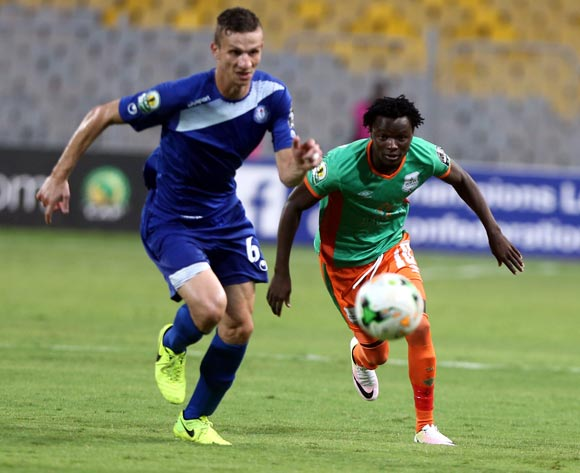 Smouha player  ahmoud Hussen  )(L) in action against Zesco United player  Lazarous Kambole (R) during the 2017 CAF Confederations Cup game between Smouha and Zesco United at Borg El Arab Stadium in Alexandria, Egypt on 30 June 2017 © BackpagePix