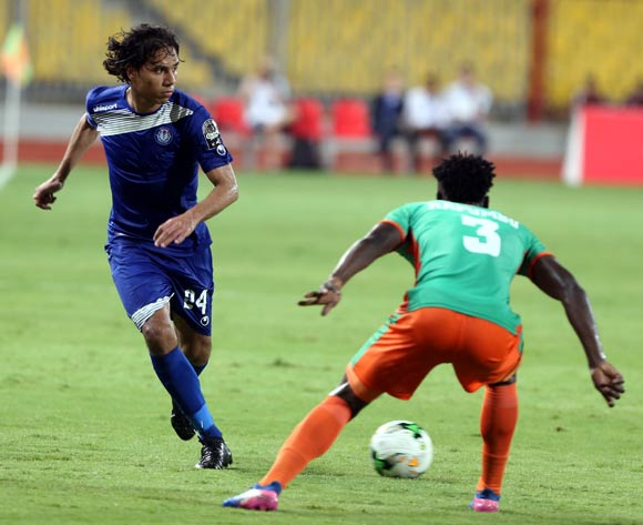 Smouha player Amr El Monoufy  (CL in action against Zesco United player Fackson Kapumbu (R) during the 2017 CAF Confederations Cup game between Smouha and Zesco United at Borg El Arab Stadium in Alexandria, Egypt on 30 June 2017 © BackpagePix