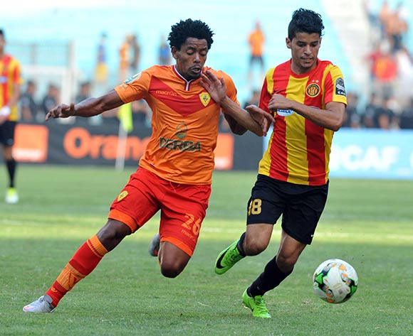 Esperance Sportive de Tunis player Beguir Saad  (R) fights for the ball with Saint George S.C. player Natnael Zeleke (L) during the 2017 CAF Champions League game between Esperance and Saint George Tunis, Tunisia on 9 July 2017 © BackpagePix